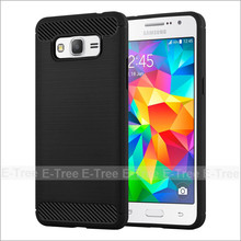 Carbon Fiber Pattern Brush TPU Phone Back Case Cover For Samsung Galaxy Grand Prime G530