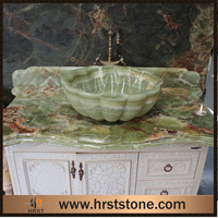 High quality green onyx vanity top with integral basin sink