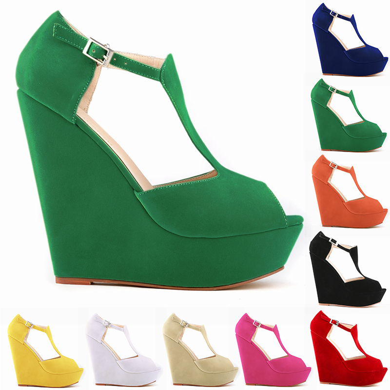 2017 newest design green color platform wedge high heel sandals peep toe