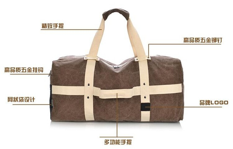 Latest high quality stylish heavy duty unisex durable canvas travel duffle bags
