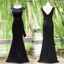 Black Lace Cap Sleeves Floor Length Custom Made Long Prom Party Dresses Vestido De Fiesta PD104 long tight prom dresses