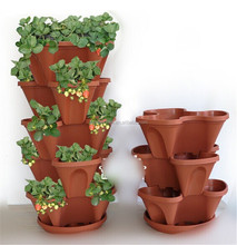 New design plastic stack flower pot hanging plant pot with tray for garden