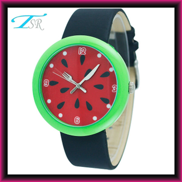 colorful children watches for girls, fruit kids watches with leather band hot selling in Russian