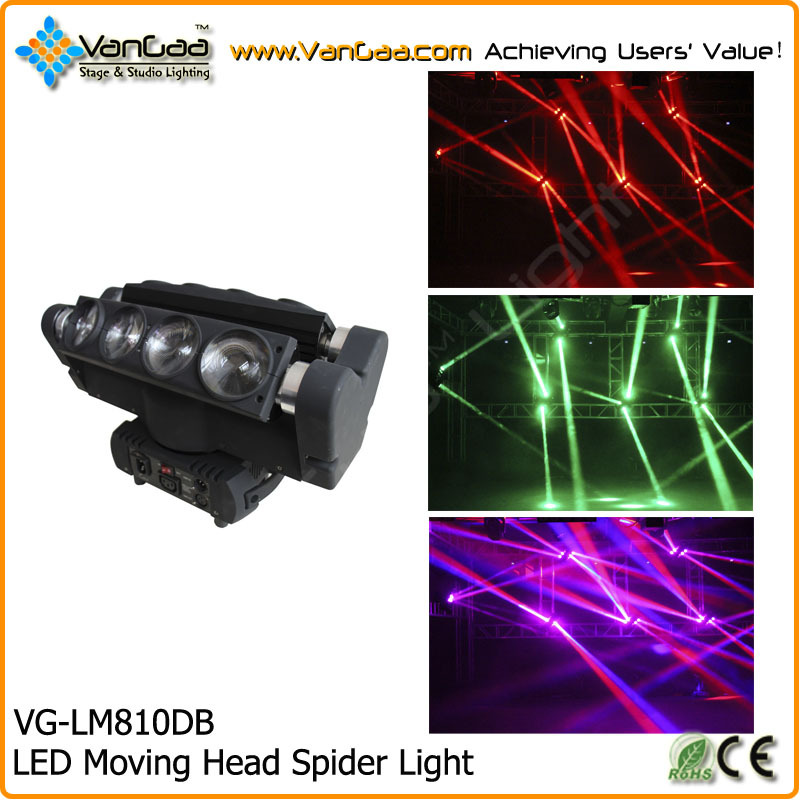 Hot Seller LED Moving Head Spider Light DJ Lights 8pcs 10W 4-in-1 RGBW Beam LED Moving Head Spider Light