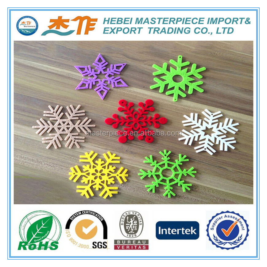 high quality various color and size felt snowflake decorations for Christmas