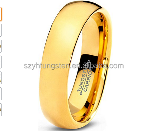 5mm/8mm Width 24k Gold Plated Domed Tungsten Ring Mother's Day Gifts Ring Classic Wedding Band High Polished Finish
