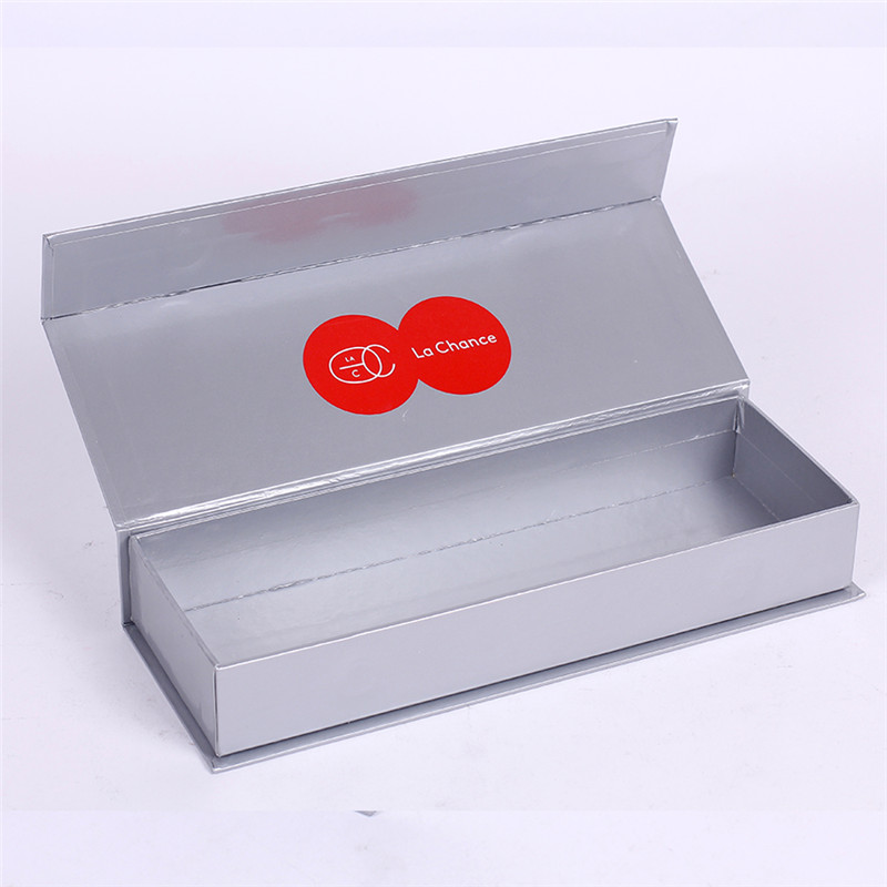 Silver card paper presentation gift box magnetic