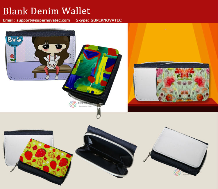 Sublimation Denim Wallet for Men ,Custom Phone Bag