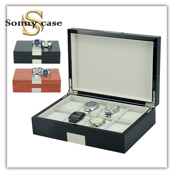 Glossy Lacquered 8 Slots Big Size Mens Wooden Watch Packing Box