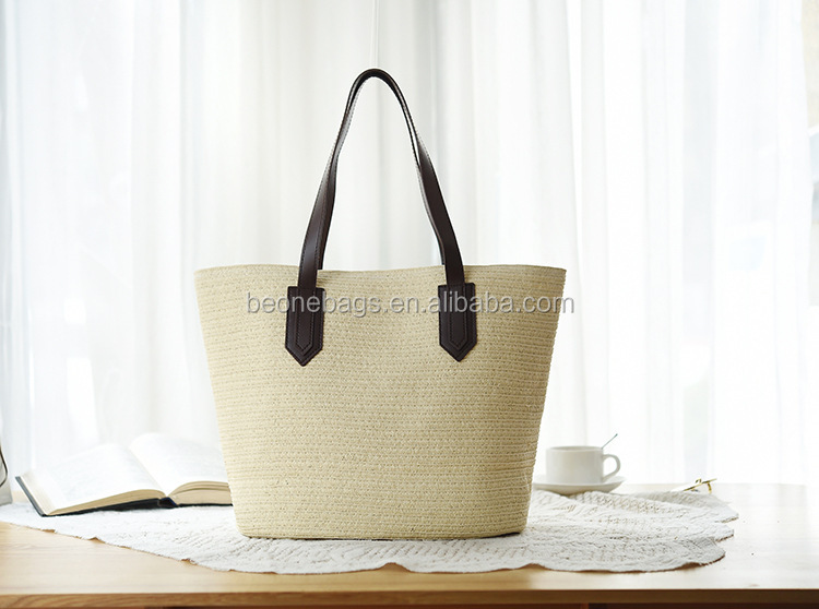 Women Summer Straw Bag Vegan Leather Handle Straw Beach Bag