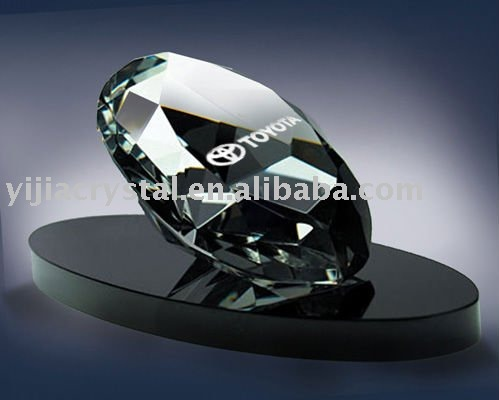 3D laser engraved crystal paperweight glass diamond office table decoration