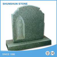 Polished Light Grey Granite Euorpe style Tombstone / Headstone