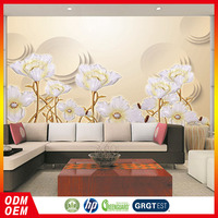 3D relief white and pure flower image design vinyl wallpapers for home