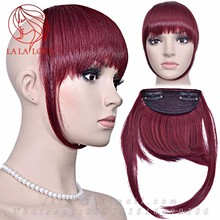 Human Hair Clip In hair extensions Bangs Human Fringe Natural hair clip ins bangs hairpiece Blunt bangs for black women Burgundy