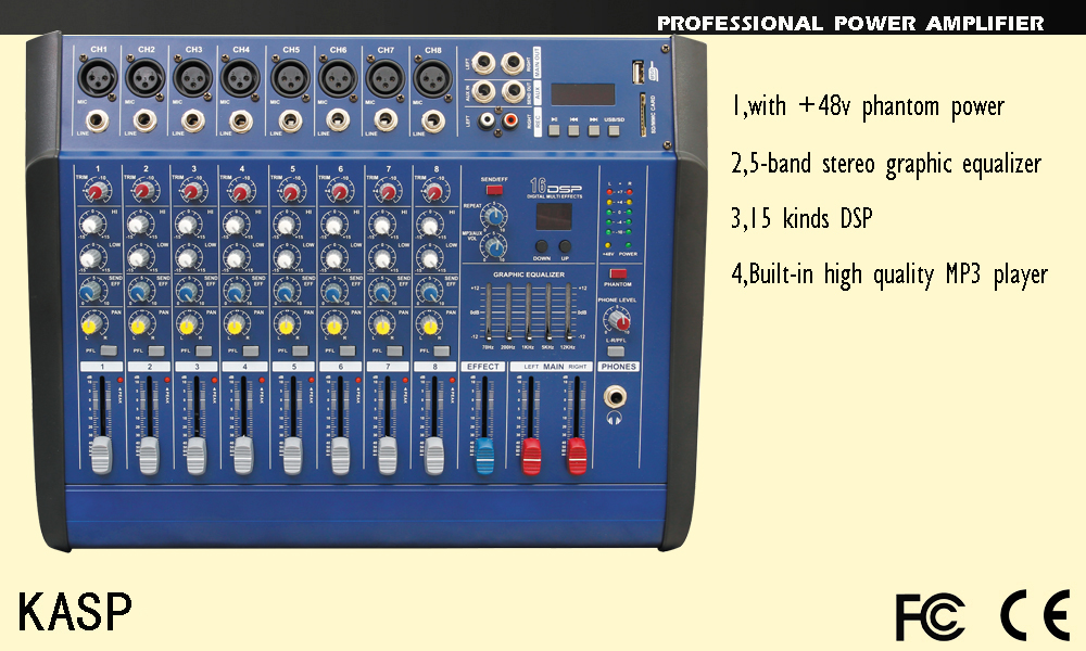 8 channel power mixer 250 watt amplifier,with mp3 player USB 16 kind DSP pmx802D