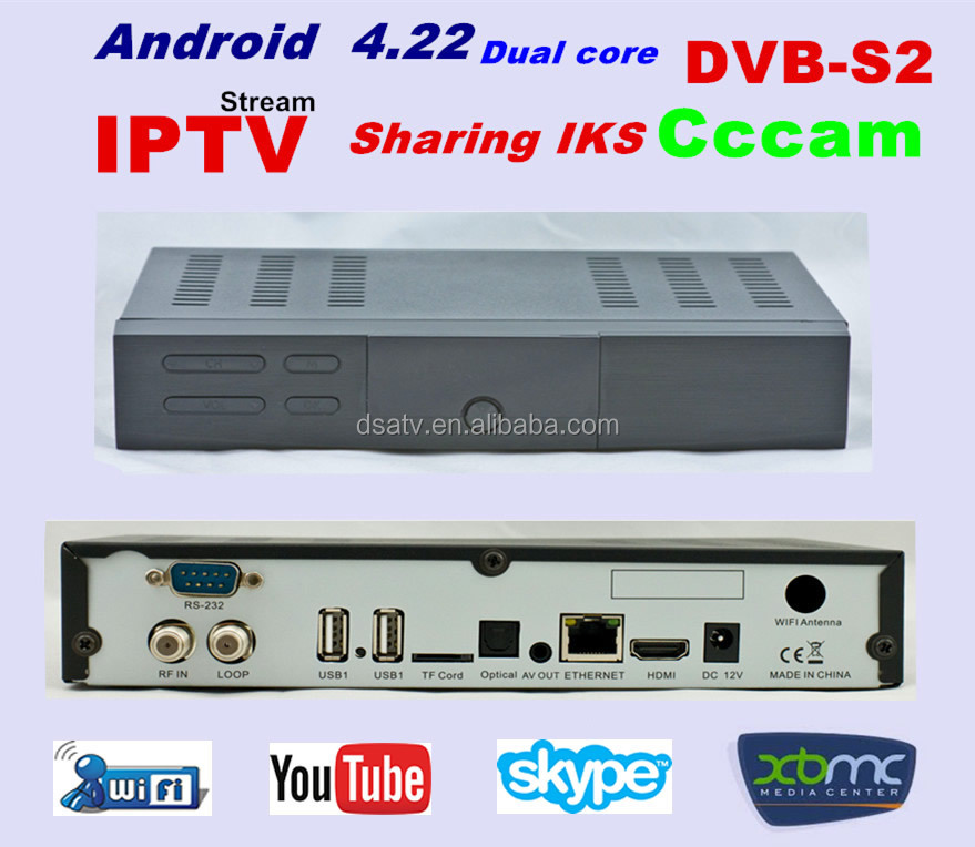 2015 HOT IPTV dvb s2 android tv box server android tv box receiver dvb-s2 set top box cccam cline IPTV system xbmc Youtue
