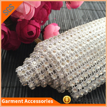 Clear Crystal mesh round rhinestone mesh chain trim for white dress