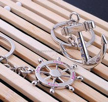 2016 Metal Nautical Steering Wheel Anchor Charms Love Key Ring
