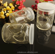 250ml clear pudding glass container with love heart embossed,jam jar,pickles candy sealed cans,food grade glass jar with pp lid