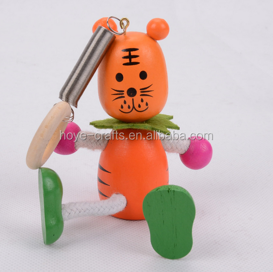 wooden bouncing animal spring toy cartoon tiger