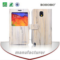 Wood grain magnetic window leather stand case for samsung galaxy s5