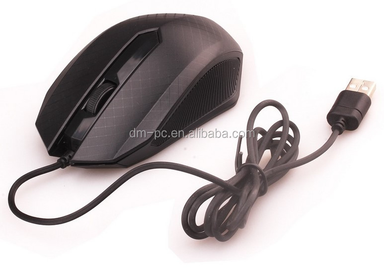 Promotional Cheap Black Wired USB 3D Optical Mouse Wholesale Discount