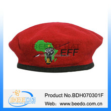 100% Wool Red Military Beret with embroidery decoration