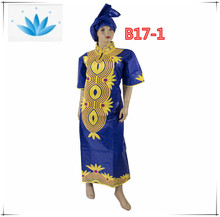 Fashion African traditional clothes embroidery design bazin dress for sale