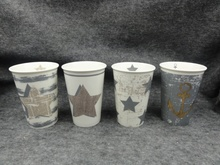 SGS approved Eco-friendly new bone china tall coffee mugs solid color with decal printing