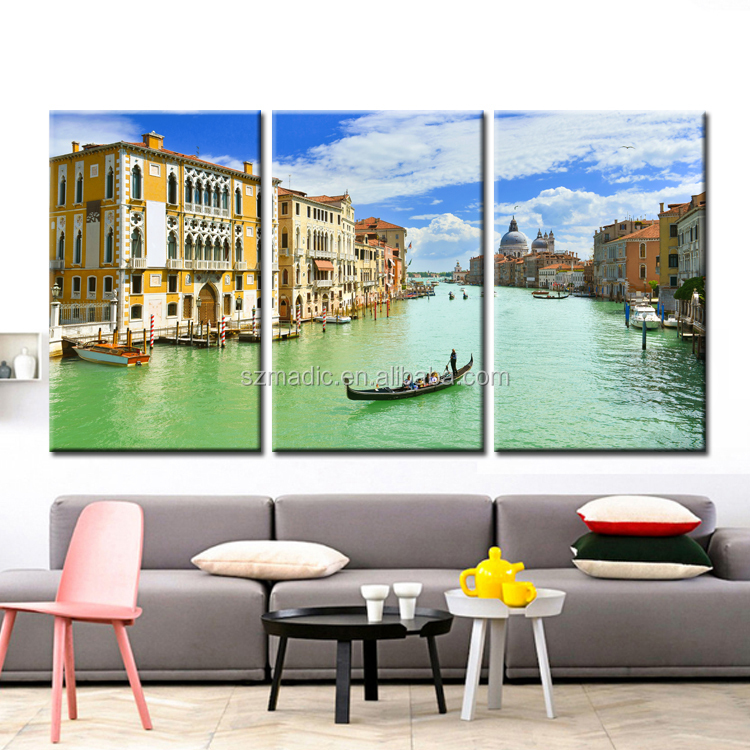 Framed Wall Art 3 Panel Large Home Decoration Pieces Venice Landscape Italy Oil Painting Laminas De Cuadros De Pared Giclee Art