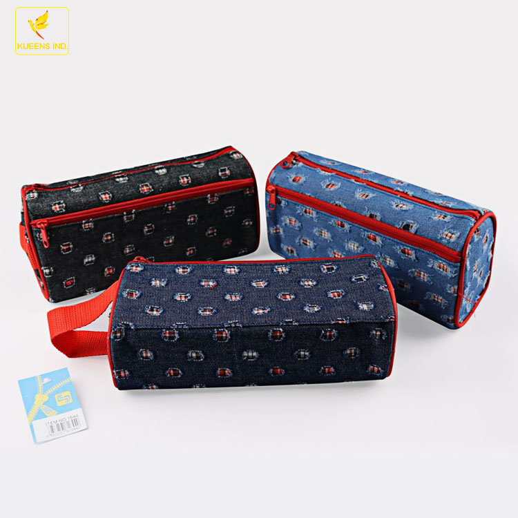 LQPT-B1644 packing different colors mixed logo customized branded canvas jeans high quality pencil case school kids pencil case