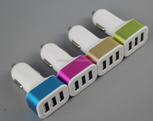 Three usb ports car charger with metal ring 2.1A,1A,600mA -C20
