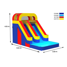 Cheap prices outdoor inflatable water double slides, big water slides prices with pool for sale