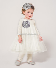Newest Ivory Baby Girl Dress With Headband Fancy Infant Dresses Cute Toddler Clothes CS90421-36