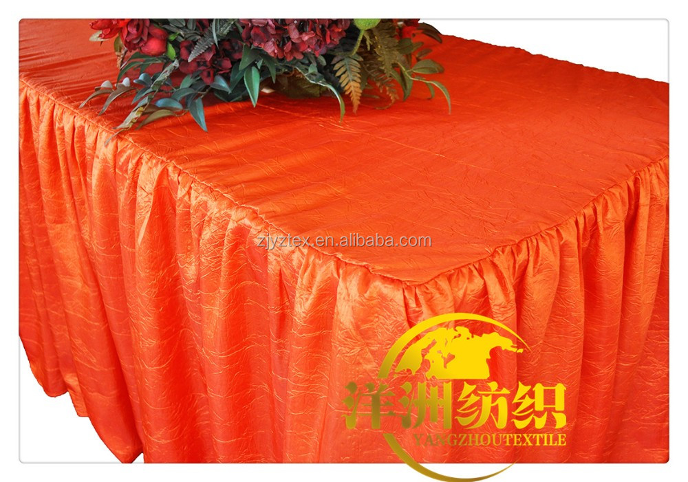 2016 Newest 100% Polyester orange crushed Taffeta Table Cloth Wholesale table top