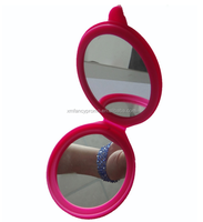 Promotional Silicone Round Pocket Folding Cosmetic Makeup Mirror Case