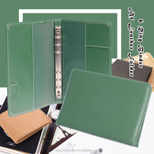 Metal O Ring Binder Leather Folder Portable Business Document Folio
