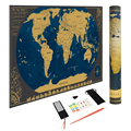Scratch World Map Poster-Bonus Scenic Spot Wall Stickers and Map Mailing Tube Track Your Adventures Personalized Travel Tracker