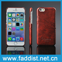 Leather cheap mobile phone case for iphone 6 with card slots function