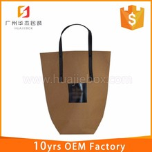 Customized Advertising Promotion Flat Handle Kraft Paper Bag
