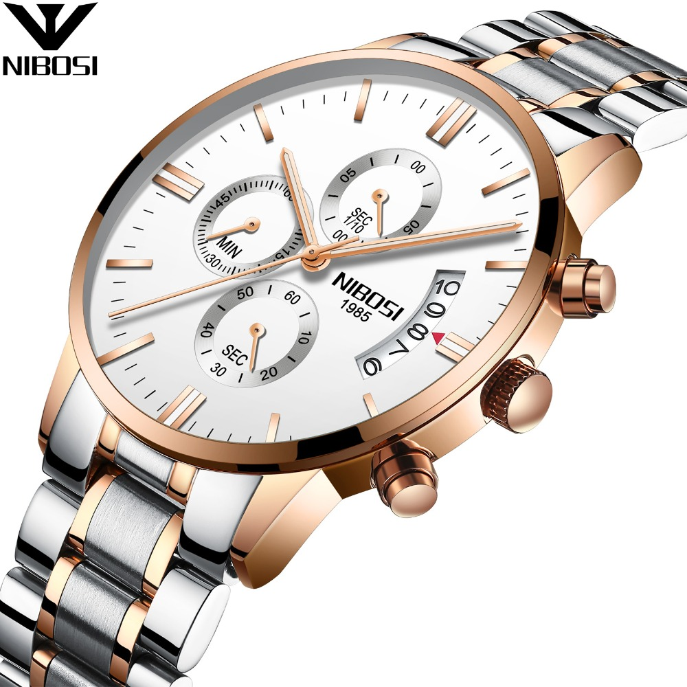 NIBOSI Chronograph Watch Solid Stainless Steel Watchband 3ATM Wrist Watch for <strong>Men</strong>