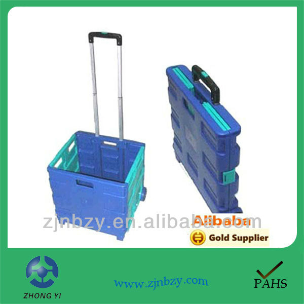 Wholesale price commercial 2 Wheel Plastic Foldable Supermarket Shopping Roller Trolley with Handle