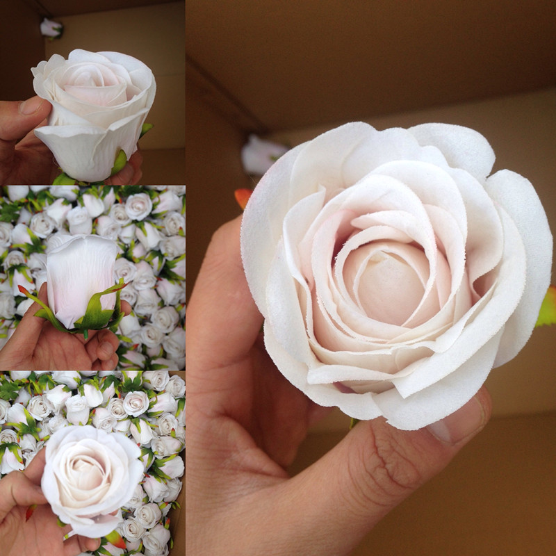 artificial silk rose bud blush colour for wedding flower wall