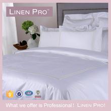 Luxury T300 Sateen 100% Combed Cotton White Hotel Bed Sheets Cross Stitch Bed Sheets