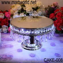 2018 Hot sale Hanging Crystals Cake Stand with LED light for wedding/ home/party decoration(CAKE-008)