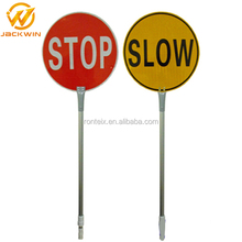 Hand Held Stop Slow Paddle Traffic Control Reflective Road Sign
