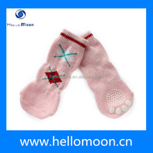 New Design Factory Wholesale Pink Grid Pet Shoe Socks For Dogs Cats