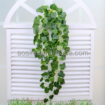 Factory Price Decoration Artificial Flower Hanging Fake Vines Grape Leaves