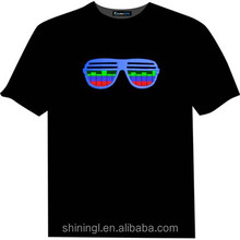 music activiated light up el T shirt with flash pane