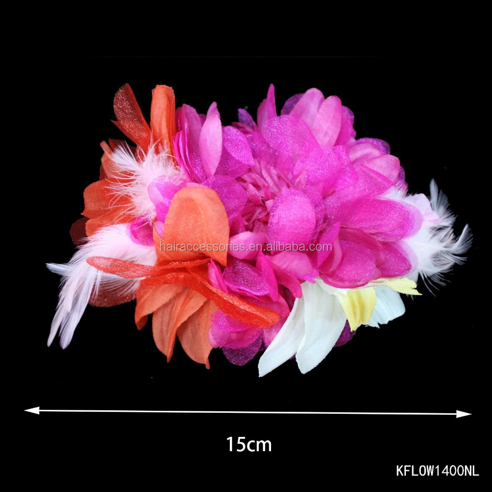 Feather and chiffon head decorative flower for party
